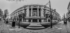 Selfridges BW Pano (scarlet-pimp) Tags: trafficlight bnw londonist shopping mono outdoor clock entrance timeout london bw monochrome outdoors timeoutlondon sky pavement oxfordstreet blackandwhite selfridges panorama day monochrone