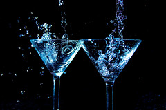 Martini Glasses and Water (haytonphotography) Tags: water glass studio artistic nikon color action waterdrop splash