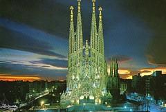Sagrada Família, Expiatory Temple of the Holy Family, Barcelona Spain (caijsa's postcards) Tags: barcelona spain sagradafamília churches antonigaudi nightview placesofworship