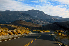 Shadows Across the Road (lefeber) Tags: california road mountains landscape vanishingpoint highway shadows desert perspective whitemountains roadtrip brush valley plus deathvalley bushes