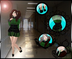 The Naughty School Brat (~Tsukara.Henusaki~) Tags: life school black green girl pencil naughty zombie suicide hallway sl willow mature secondlife second heels plaid grannysmith tsu zs isis zamin henu henusaki tsukara tsusime
