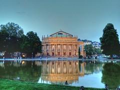 Oper (Gernot_) Tags: building germany mirror opera warm nightshot stuttgart german spiegelbild gebude hdr oper historisch sonnelicht