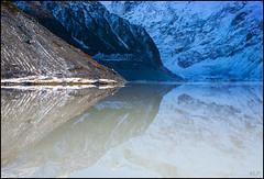 Sefton reflection (katepedley) Tags: park new winter newzealand mountain lake snow reflection ice contrast canon island mt south cook calm symmetry glacier mount zealand alpine national southisland 5d 1740mm moraine mueller aoraki sefton polariser glaciated