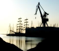 Construction site (Jaedde & Sis) Tags: morning dawn harbour silhouettes århus tallshipsraces gamewinner 2013 unanimous 15challengeswinner a3b challengefactorywinner thechallengefactory