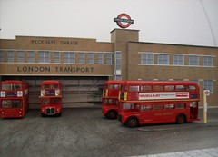 Peckham LT bus garage (kingsway john) Tags: peckham bus garage model 176 scale kit card kingsway models efe dms rm routemaster londontransportmodel diorama oo gauge miniature