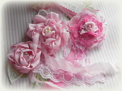 """Roses of Courage"" handmade pink rosettes (AllThingsPretty...) Tags: pink roses breastcancer rosettes fabricroses handmaderosettesinshadesofpink madeforswappartnerevelynfortherosesofcourageswapimhostingatanalteredpapergroup"