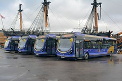 63048 - SK63 KHZ heads line up in front of HMS Victory (Solenteer) Tags: portsmouth hmsvictory thestar wrightbus firsthampshiredorset streetlitemax