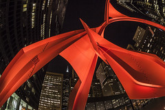 Flamingo (olsonj) Tags: city sculpture chicago night flamingo alexandercalder
