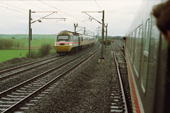 19910323 115 Tursdale Junction.  43152 Heads North. Photo Taken From Hertfordshire Railtours 'Hills Of The North' 1Z31, 14.45 Upperby Goods Loop-Kings Cross, Final Passenger Train Leamside Line (15038) Tags: railways trains br britishrail intercity125 class253 class254 diesel hst hillsofthenorth hertfordshirerailtours tursdalejunction leamsideline 43152 powercar highspeedtrain