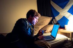 One Friend Minus (alan_ofm) Tags: light portrait man night dark scotland bed laptop saltaire