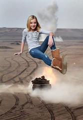 Military mishap. (Museman2012) Tags: girl tank desert boots military smoke explosion jeans teen giantess