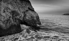 Shell Beach Cave_B&W (Basak Prince Photography) Tags: ocean blue seascape water rock sunrise pismobeach shellbeach