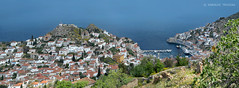 HYDRA HILL AND HARBOR (GREECE, AEGEAN-SEA, HYDRA-ISLAND) (KAROLOS TRIVIZAS) Tags: houses sea panorama port boats harbor pier village view jetty hill roofs greece picturesque idra attica slopes aegeansea ydra hydraisland blinkagain argosaronikosbay
