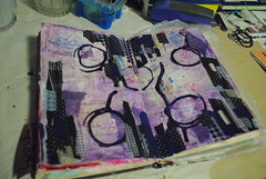 Purple Musings (Ulixis) Tags: flowers india colour collage ink altered book amber blog words paint purple mixedmedia circles indigo scallops sketchbook polka tape lilac gelato mauve novel sharpie dots borders edges washi journaling ulixis