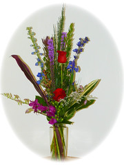 "#24ED $65 Beautiful Vase Arrangement with Roses, Delphinium, Hypeicum Berries, Dendrobium Orchids, and Liatris • <a style=""font-size:0.8em;"" href=""http://www.flickr.com/photos/39372067@N08/12229850514/"" target=""_blank"">View on Flickr</a>"