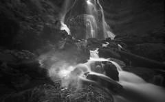 Falls Creek Falls by Pinhole (po1yester) Tags: blackandwhite film waterfall washington hiking pinhole ilfordsfx zeroimage panthercreekfalls summer2009