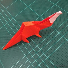 วิธีการพับกระดาษเป็นรูปไดโนเสาร์ (Origami Dinosaur) 029