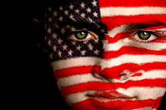 American football fan (Eric Darcman) Tags: boy red white game sport proud youth america children fan football team child flag soccer patriotic player american supporter states dedicated squad facepaint devoted intent nationalistic fanatic oldglory follower fanatical