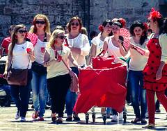Group of Women (Cross Processed)  (Plaza De La Virgin) (Sony HX60V) (markdbaynham) Tags: city travel valencia spain sony cybershot espana spanish espanol es hx dsc cyber compact cuidad 60v sonyphotographing travelzoom hx60 hx60v digitaldepotcouk