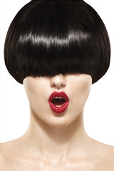 Fringe Hairstyle Beauty Girl with short Hair (auromakeup) Tags: portrait woman white haircut black cute girl beautiful beauty face look fashion closeup modern lady female dark hair studio healthy model glamour perfect long shine skin cut background young makeup bob style fringe lips short salon lipstick brunette cosmetics hairstyle luxury styling stylish cosmetic caucasian haircare fashionable hairdressing hairstyling