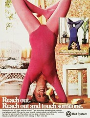 Reach Out. Reach out and touch someone. (SA_Steve) Tags: old sexy strange sex yoga vintage funny exercise telephone ad down tights retro advertisement advert innuendo workout upside leotard headstand mabell bellsystem