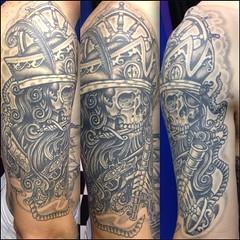 Healed tattoo I did about a year ago #piratetattoo #pirateskeleton #skulltattoo @neotatmachines #alteredstatetattoo #lakeworthtattoo