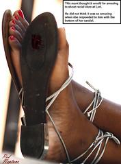 Splattered Stupidity (Red Neptune) Tags: giantess gts feet crush stomp sandals shrunkenman black ebony sm