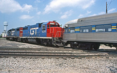 Excursion Train in Durand (craigsanders429) Tags: grandtrunkwestern gtwmotivepower durandmichigan gtwindurandmichigan michigan michiganrailroads gtw6216 gtw5832 gp38 emdlocomotives passengertrains passengercars