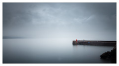 A Waiting Game (picturedevon.co.uk) Tags: babbacombe torquay torbay devon england uk seascape le longexposure fineart minimalist blue sky cloud mist fog weather fishing jetty coast people water canon picturedevon photography calm