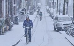 Toiling by bike through a snow blizzard in Amsterdam (B℮n) Tags: amsterdam bloemgracht snow covered bikes bycicles eerstebloemdwarsstraat holland netherlands canals winter cold wester church jordaan street anne frank house dutch people scooter gezellig cafés snowy snowfall atmosphere colorful windows walk walking bike cozy westerkerk rondvaartboot boat light rembrandt corner water canal weather cool sunset file celcius mokum pakhuis grachtengordel unesco world heritage sled sleding slee seagull lekkersluis nowandthen meeuw seagulls meeuwen bycicle 1°c sun shadows sneeuw brug toiling zwoegen sneeuwstorm blizzard 50faves topf50 100faves topf100