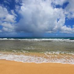 Haena Beach Sunshower (russ david) Tags: haena beach park sunshower sun shower kauai september 2016 hawaii hi pacific ocean ハワイ 風景