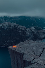 Adrenaline camping Pt. 2 (Matthias Dengler || www.snapshopped.com) Tags: matthias dengler snapshopped preikestolen prekestolen rogaland norway norwegen norge pulpit rock night tent camping wanderlust travel adventure edge camp nature landscape mountain mountains fjord lysefjord steep dark clouds storm