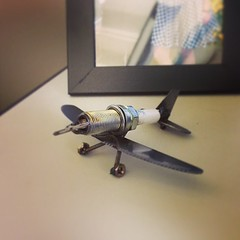 Sparkplug Plane (iamshaft3) Tags: plane square miniature wings wheels knife mini butter squareformat plug spark prop butterknife sparkplug iphoneography instagramapp uploaded:by=instagram foursquare:venue=4f3bd6d7e4b09bd6276061b4