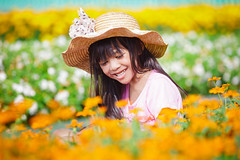 Happy little girl on the meadow with flowers (Patrick Foto :)) Tags: park flowers summer baby white plant flower cute green nature girl beautiful field grass childhood smiling female garden asian fun happy person one kid spring healthy toddler pretty day child play natural little sweet outdoor background small young meadow adorable lifestyle happiness thai sit casual leisure lovely cheerful playful preschooler