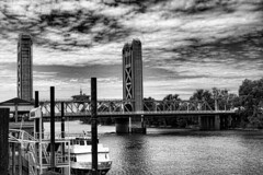 Tower Bridge, Sacramento, CA (hiapoeosguy) Tags: sanfrancisco vacation towerbridge blackwhite sacramento topazeffects5