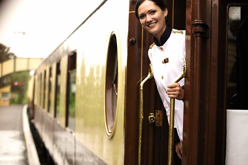 British Pullman - Stewardess of a luxury train in the UK