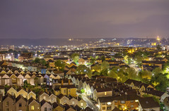 Nighttime Over Totterdown (Vemsteroo) Tags: life longexposure houses urban streets southwest night canon bristol 50mm lights evening cityscape view rooftops cloudy terrace f14 busy pollution suburbs suspensionbridge clifton neighbourhood 6d totterdown niftyfifty