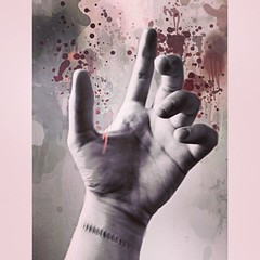 Catastrophe (silenthurricanes) Tags: lyrics blood hands hand stitch random quote stitches aviary stains drips wrist depressing meaningful lyric splashes splashe vsco versaemerge fotolr vscocam