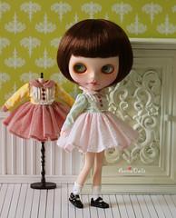 Anniedollz Blythe Outfits Vintage Long Sleeve Dress