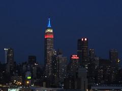 Holiday colors (Anita363) Tags: newyorkcity blue red white newyork skyline newjersey manhattan nj midtown hudsonriver empirestatebuilding july4 weehawken