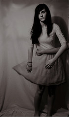 Ensnared in Sadness (VickyElleBurton) Tags: blackandwhite bw selfportrait blur me girl sadness hand dress arm depression teenager anxiety 52weeks ensnared