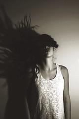 8/52 (Andie.W) Tags: lighting blackandwhite bw girl sepia canon dark hair be hairflip