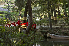 River Boat (Daniel P McCrone) Tags: bridge red colour japan canon garden eos boat hiroshima explore 7d ef2470f28lusm shukkeiengarden