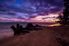 Hawiian Sunrise (Andrew Scott Bauer) Tags: sky seascape beach clouds sunrise canon landscape island hawaii day cloudy oahu explore shore beachscape canonefs1022m