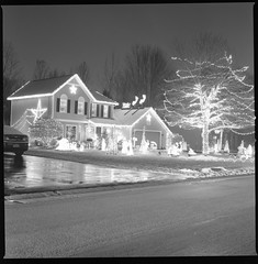 Christmas lights | Rochester NY (OQ62) Tags: christmas blackandwhite bw 120 6x6 film analog zeiss mediumformat prime scanner scan rochester hasselblad 400 scanned fujifilm planar acros 80mm carlzeiss hasselblad500cm 80mmf28 epsonv700 carlzeissplanarc80mmf28t