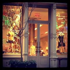STELLA MCCARTNEY SOHO (mariaortizbyrne) Tags: christmas city trip stella winter snow ny cold cute window shop outside lights nice colorful neon december soho decor mccartney whimsical 2013