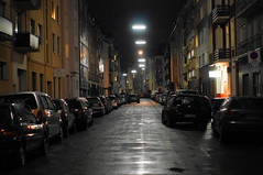 Street Night (Torsten Reuschling) Tags: street winter rain night dark lights december nacht strasse foggy dsseldorf regen dunkel strassenlaternen derendorf neblig mygearandme mygearandmepremium mygearandmebronze sonyslta57