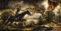 The chase (forest version) (Big Picture Photography and Design) Tags: uk blue light sunset red portrait horse orange woman cloud sun sunlight green art girl beauty grass sunshine rock composite dave lady clouds digital forest photoshop portraits canon ranger dragon dish image earth joel hill manipulation calvin devon fantasy portraiture hollywood sword granite theme 5d moors katana middle themed alienbee moor imagemanipulation dartmoor equine davehill compositing themes kicker moorland grimes haytor beautydish joelgrimes octobox 5dmk2 thedavehilllook calvinhollywood