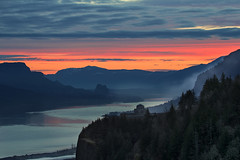 Sunday Sunrise Sundae (David Gn Photography) Tags: morning trees sky mountain reflection clouds oregon sunrise landscape dawn early washington scenic columbiariver gorge crownpoint viewpoint vistahouse beaconrock