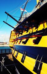 HMS Victory (svandagr) Tags: ocean england seagulls shells beach digital boats harbor sand wind britain outdoor navy trafalgar nelson pebbles portsmouth historical hmsvictory hmswarrior portsmouthhistoricdockyard
